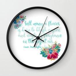 Jane Austen Quote - Flowers on White Wall Clock