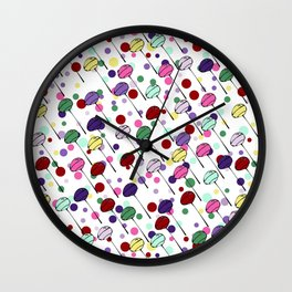 lolly pops - dots - white Wall Clock