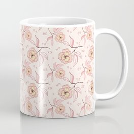 Pink Peony Kiss Floral Pattern Coffee Mug