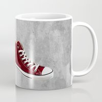 converse Mugs featuring Converse by Gayle Storm
