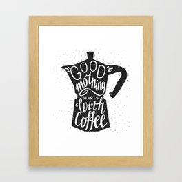 Good morning stars with coffee Framed Art Print