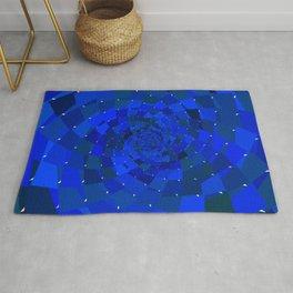 Sapphire Blue Geometric Cosmic Galaxy Rug