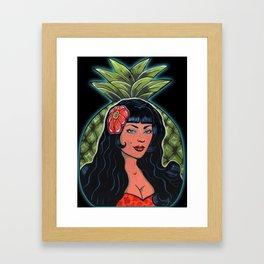 Beautiful Hawaiian Pinup Hula Girl Pineapple Princess  Framed Art Print