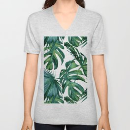Classic Palm Leaves Tropical Jungle Green Unisex V-Neck