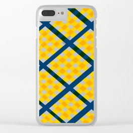 GEOMETRIC YELLOW AND BLUE Abstract Art Clear iPhone Case