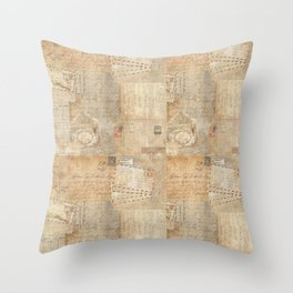 Vintage French Script & Letters Throw Pillow