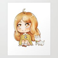 puppycat Art Prints featuring Bee & Puppycat by Porzellan