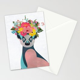 Lemurs with a crown of flowers I Stationery Cards