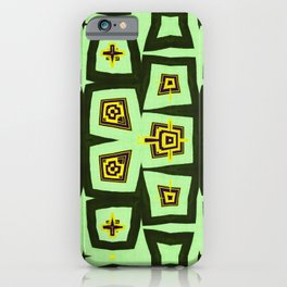 Green and Yellow Irregular Abstract Shape Pattern iPhone Case