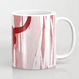 Boho Bohemian Trendy Bull Skull Southwest Desert tattoo Style Design on Abstract Red Illustration Coffee Mug