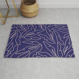 Banana Leaves Line Art Pattern / Navy Blue Rug