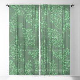 Butterfly Pattern Green Sheer Curtain