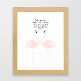 Flamingos on White Framed Art Print