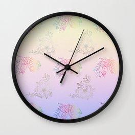 Gentle ombre metallic flowers Wall Clock
