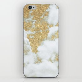 Abstract white faux gold glitter clouds pattern iPhone Skin