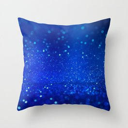 Abstract blue bokeh light background Throw Pillow