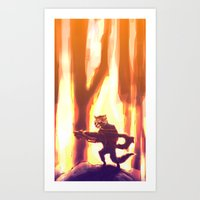 rocket raccoon Art Prints featuring Rocket Raccoon by Mimi JJ