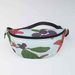 Red lily, snake and plum tree pattern Fanny Pack