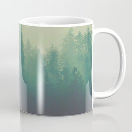 Misty Blue Pine Forest Tall Parallax Trees Silhouette Ombre Forest Foggy Landscape Coffee Mug