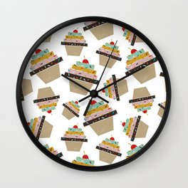 Cupcake eating ice cream Wall Clock