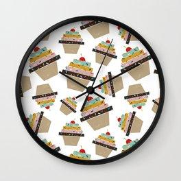 Cupcake eating ice cream Wall Clock
