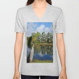Palm Reflection - Tropical Garden Pond Unisex V-Neck