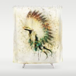 Native American Boho Headdress Sideview Shower Curtain