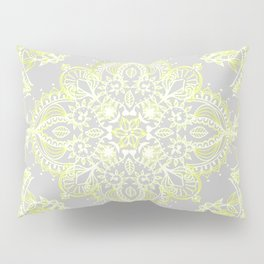 Pale Lemon Yellow Lace Mandala on Grey Pillow Sham