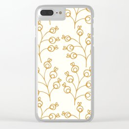 Golden floral pattern on cream Clear iPhone Case