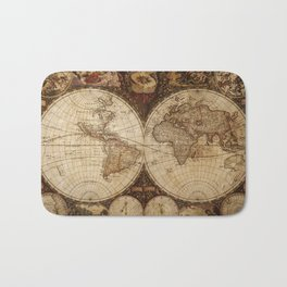 Vintage Map of the World Bath Mat