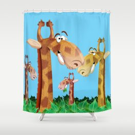 Giraffes in trees Shower Curtain