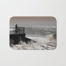 The Solitary Man and the Raging Sea Bath Mat