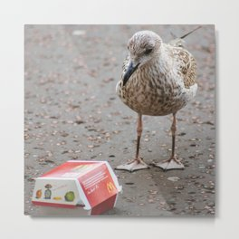 Teenage Seagull with Happy Meal Metal Print