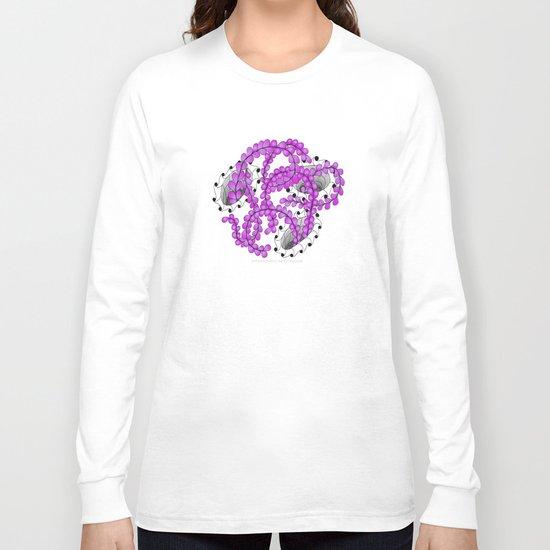 Zentangle Spring Fuchia Flower Illustration  Long Sleeve T-shirt