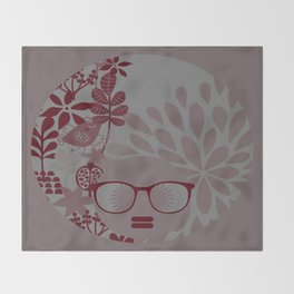 Afro Diva : Burgundy Sophisticated Lady  Throw Blanket