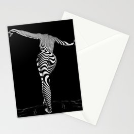 0489s-MM BW Zebra Striped Art Nude Figure Curves Stationery Cards