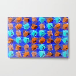 geometric polygon abstract pattern in blue and brown Metal Print