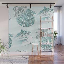 Seashells Coastal Pattern Aqua Sea Blue Wall Mural