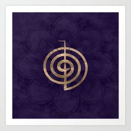 Cho Ku Rei - gold on purple lotus Art Print