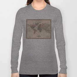 Vintage Map of The World (1833) Long Sleeve T-shirt