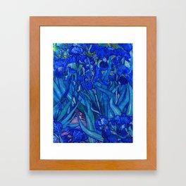 Van Gogh Irises in Indigo Framed Art Print