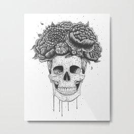 Skull with flowers Metal Print