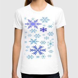 BLUE & PURPLE WINTER SNOWFLAKES  DESIGN T-shirt
