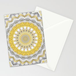 Bohemian Silver Gold Mandala Stationery Cards