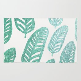 Bright green and blue leaves Rug