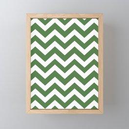 Fern green - green color - Zigzag Chevron Pattern Framed Mini Art Print