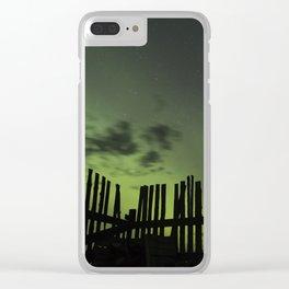 Aurora through the fence Clear iPhone Case