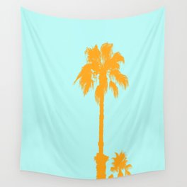 Orange palm trees silhouettes on blue Wall Tapestry