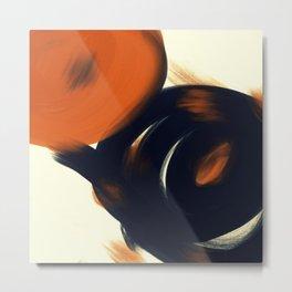 Union - Cream Background - Modern Abstract Minimalistic Zen Geometric Black Orange Timeless Circles Art by Angelo Feriante Metal Print