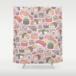 Sushi on Pink Shower Curtain